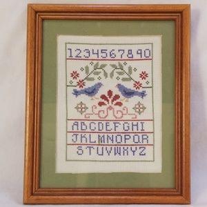Hand Made Cross Stitch Sampler Framed Wall Art